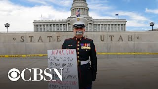 Marine holds silent protest outside Utah State Capitol
