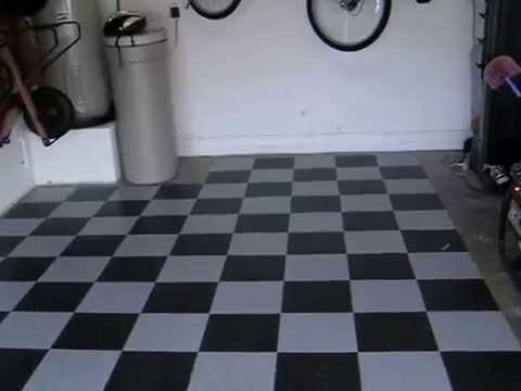 Armstrong garage floor black and gray checker vct tile youtube ppazfo