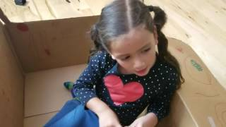 Zoey makes a cardboard airplane