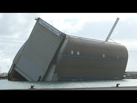HUGE Ship Repair Dry Dock - Tilted Over on The Side | Repair Shipyard | Hirtshals Habour