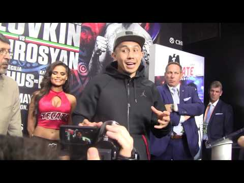 Genaddy Golovkin talks to the press about his win over Vanes Martirosyan