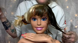 ASMR Cut, Color, & Style On Dollhead