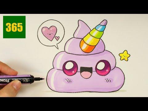 Comment Dessiner Un Emoji Crotte Licorne Kawaii Dessiner Emoji