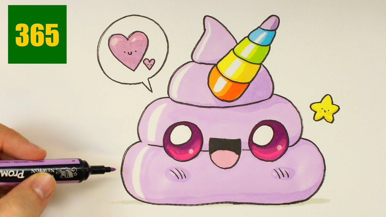 Coloriage Smiley Kawaii.Comment Dessiner Un Emoji Crotte Licorne Kawaii Dessiner Emoji