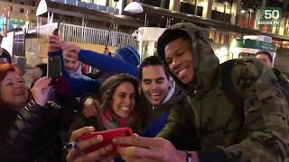 Giannis Meets Greeks Outside The Garden In New York