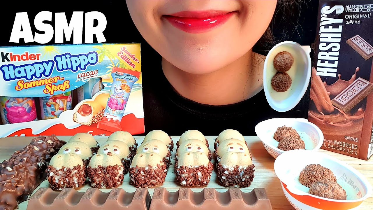 ASMR KINDER CHOCOLATE PARTY Chocolate AMSR MUKBANG Kinder happy hippo NO TALKING crunchy sound