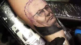 Claudio Ranieri (Leicester City FC) tattoo portrait by Tek- Tattoo Time Lapse