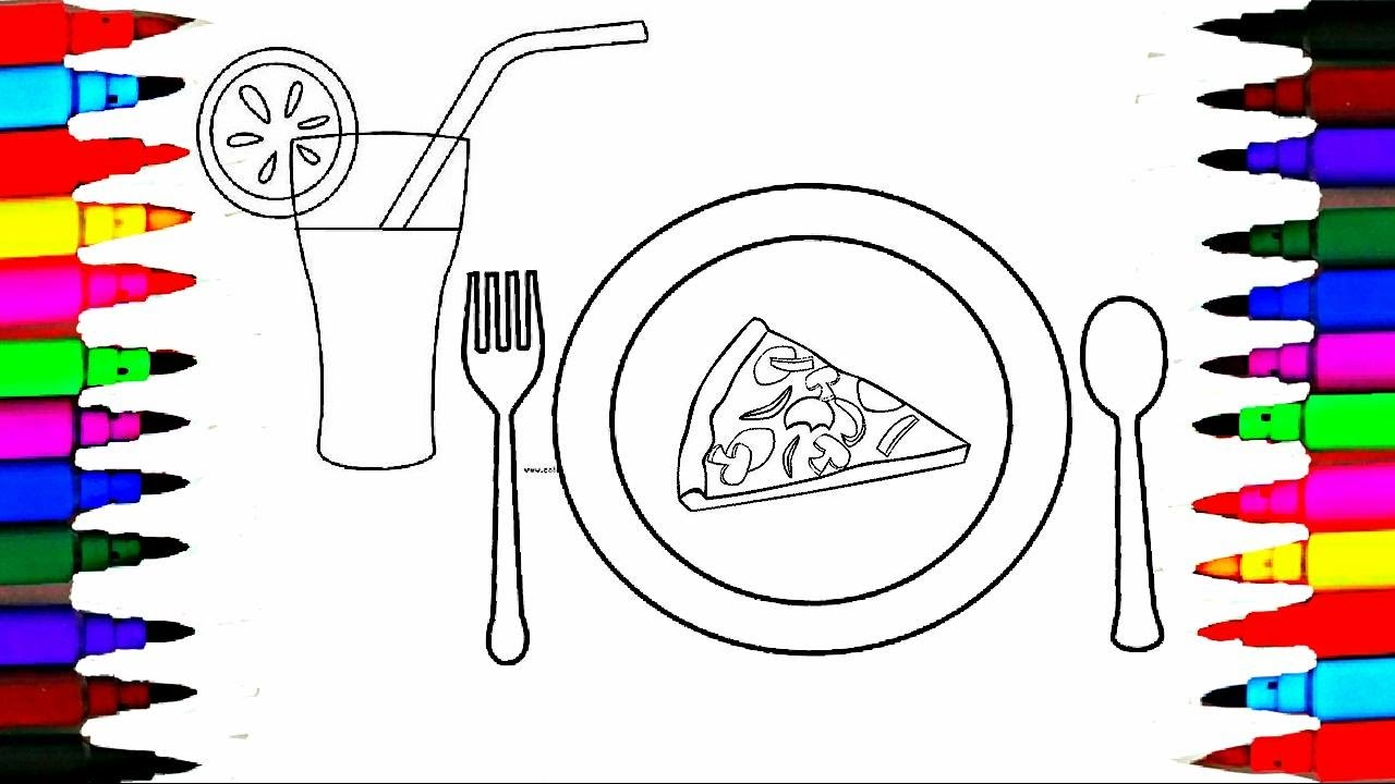 Colouring in juice - Learn Colors By Coloring Pizza Orange Juice Spoon N Fork Dining Set Drawing Pages To Color For Kids