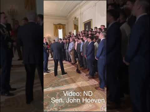 NDSU Bison Football Team At Whitehouse For Meeting With Pres