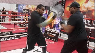 POWERFUL! HEAVYWEIGHT IAN LEWISON SMASHES THE PADS W/ TRAINER DON CHARLES / JOYCE v LEWISON