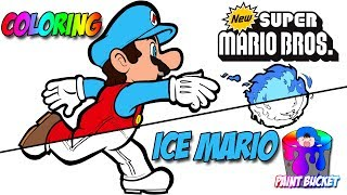 New Super Mario Bros Coloring Book - Ice Mario Transformation Coloring Page