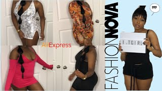 MY COUSIN RATES MY FASHION NOVA X ALIEXPRESS OUTFITS ( TRY ON HAUL)