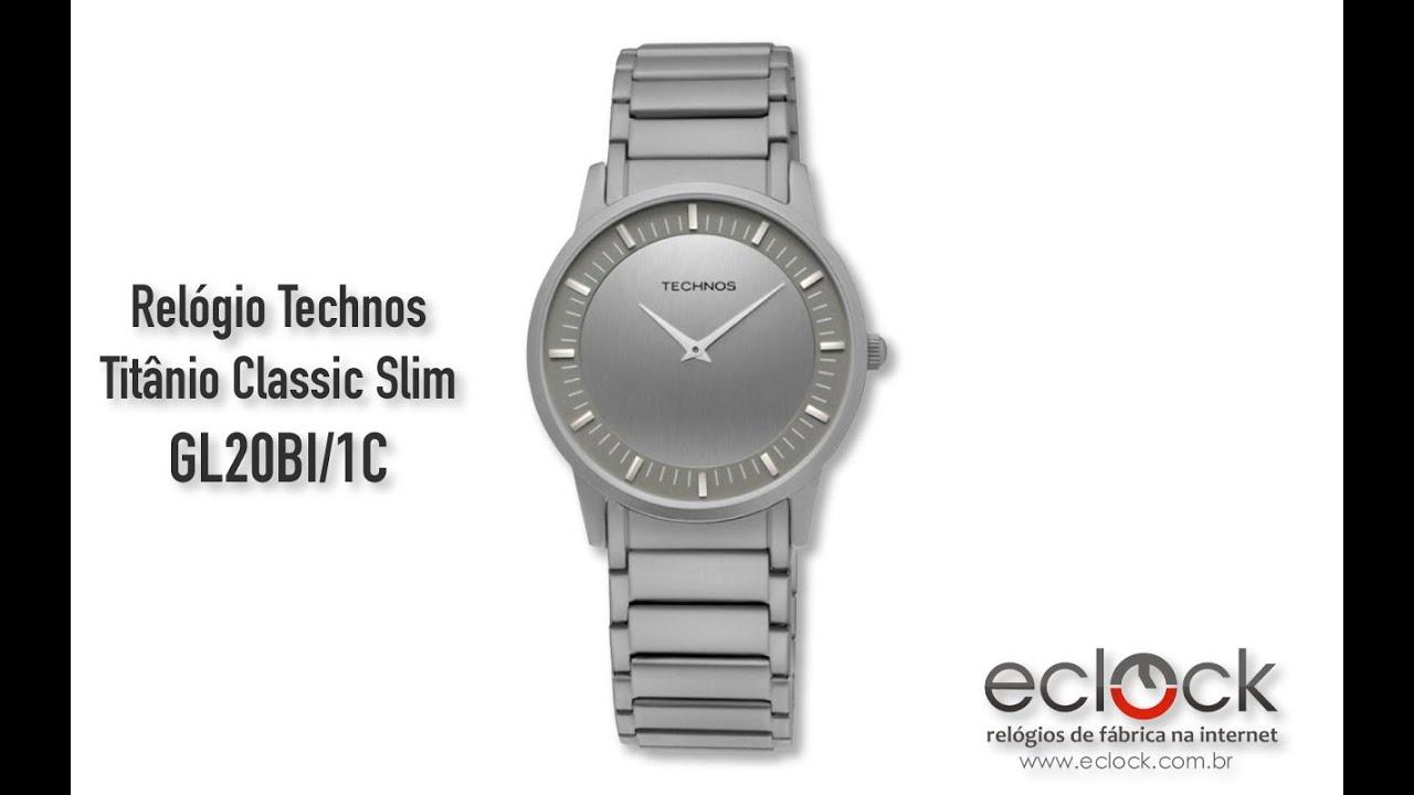 Relógio Technos Masculino Titânio Classic Slim GL20BI 1C - Eclock ... ff185d0539