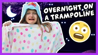 24 Hours on a TRAMPOLINE with NO LOL DOLLS - OVERNIGHT TRAMPOLINE CHALLENGE SCARY!!