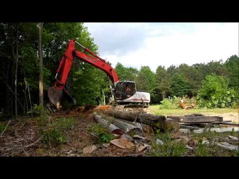 Linkbelt 2800 Excavator Clearing More Trees