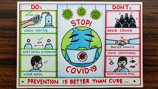 Easy Drawing of Coronavirus Awareness/ Precautions Safety Poster. Easy Drawing COVID19 Poster.