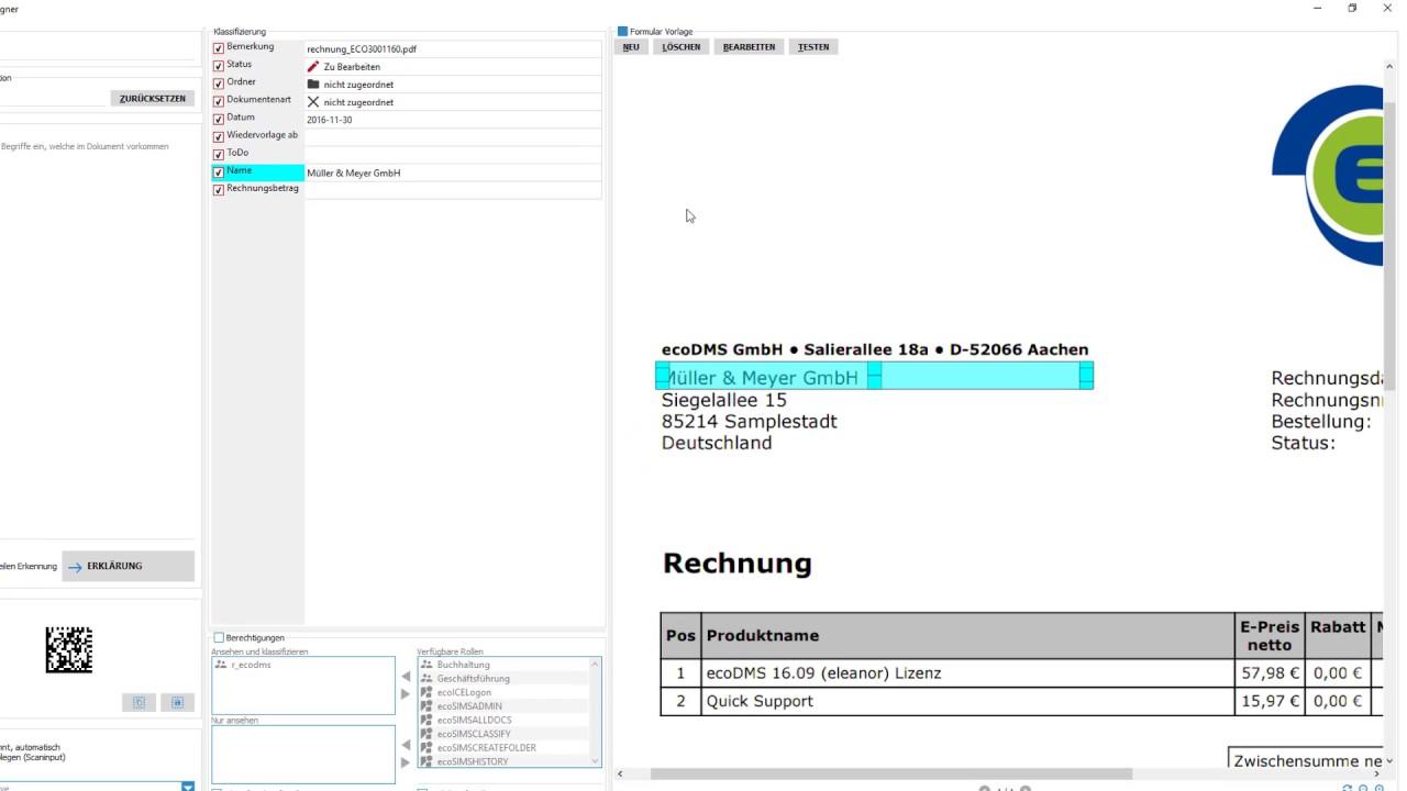 ecoDMS 16.09 - Vorlagen Designer (automatisch archivieren) - YouTube