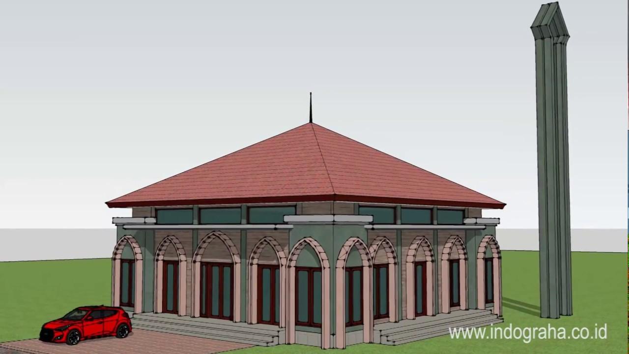 Desain Masjid Dengan Model Minimalis Luas 150 M2 Di Pondok Cina