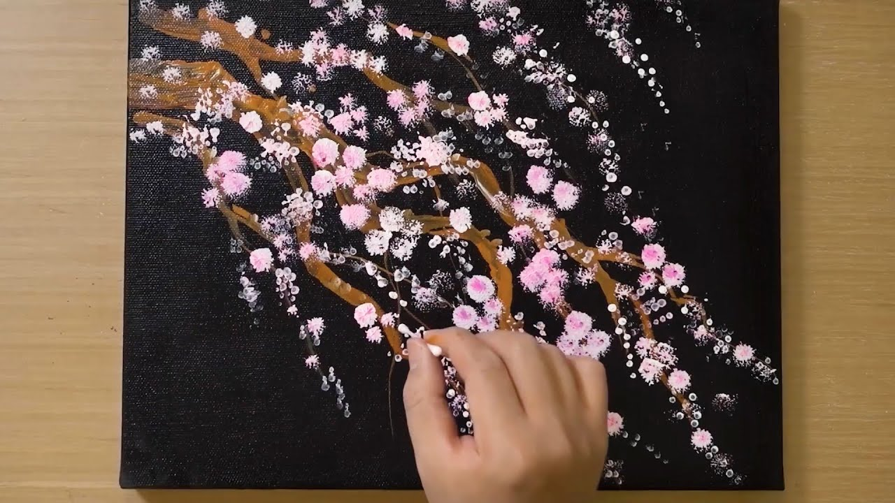Cherry Blossom Painting for Beginners / String Wooden Brush Painting Technique