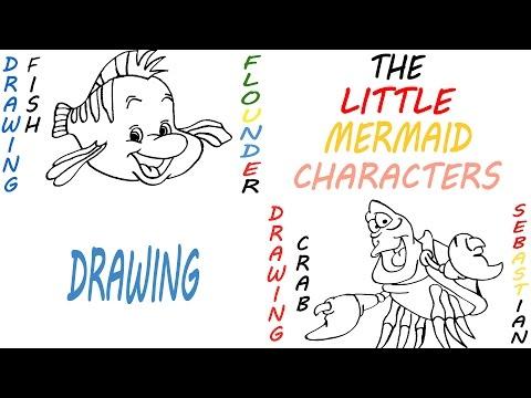 Cómo dibujar los caracteres de la pequeña sirena paso a paso fácil ...