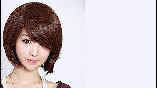 видео Стрижки с косой челкой на средние волосы