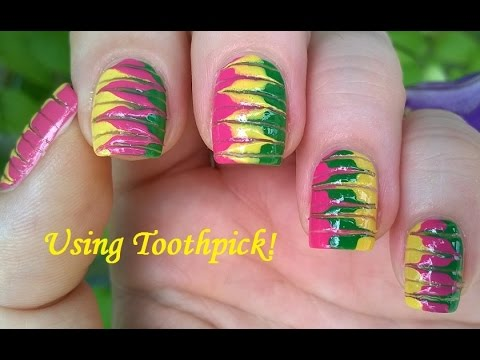 Marble Nails Without Water In Pink Green Yellow Toothpick Nail