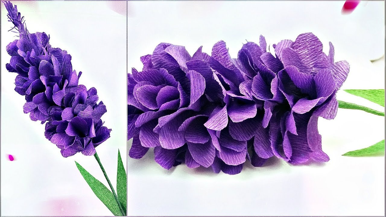 Lavender Paper Flower Making With Crepe Paper Tutorial Diy Paper Crafts Realistic Paper Flowers