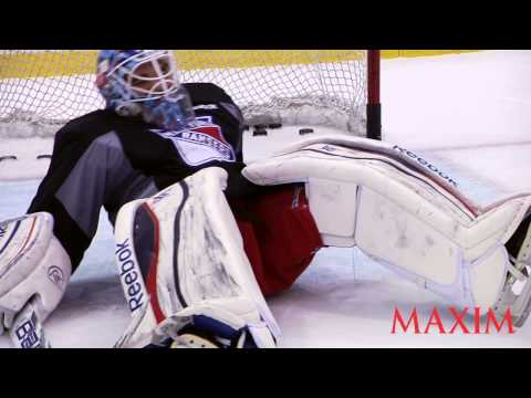 NY Rangers Goalie Cam Talbot Teaches Maxim to Tend Goal