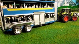 RC TRACTORS transported HAPPY COWS - farm toy fun