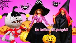 Barbie et sa copine se préparent pour Halloween. Poupées vs zombies. Vidéo pour enfants en français.