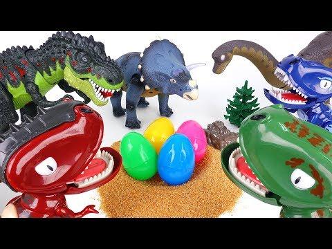 3 Dinosaur Egg Stealers~! Hatch'N Heroes Transforming Dinosaur Figures