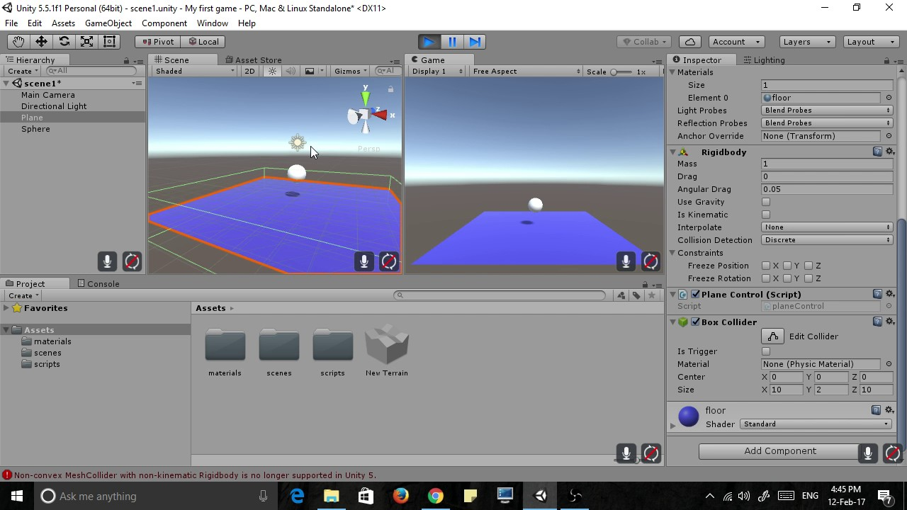 Unity plane not colliding fix