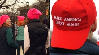 Two very different brightly covered hats