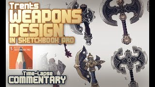 Weapon Design (concept art) with Sketchbook Pro Symmetry tool tutorial
