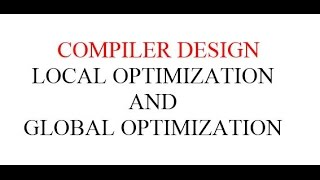 LOCAL OPTIMIZATION AND GLOBAL OPTIMIZATION