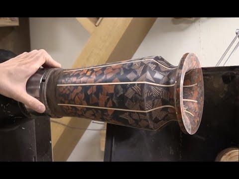 Woodturning - Mosaic Resin Vase - My first epoxy vase project -