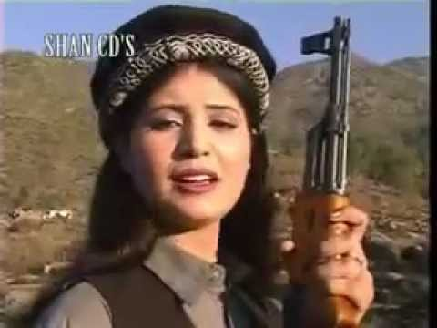 Afghan Pashtana Hot Girl singing with AK 47
