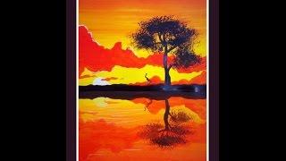 Видео урок, рисуем гуашью  Закат с Dari Art(В этом видео уроке, мы с вами нарисуем пейзаж с интересными элементами, такими как закат и отражение на воде!..., 2014-09-13T12:53:14.000Z)