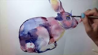 Акварель для начинающих. Как нарисовать кролика