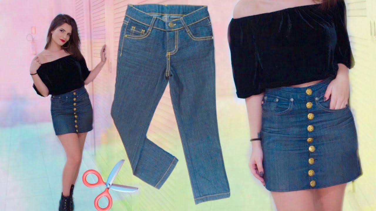 Transforme Calça Jeans em Saia de botões! - YouTube 812d1e1f75c