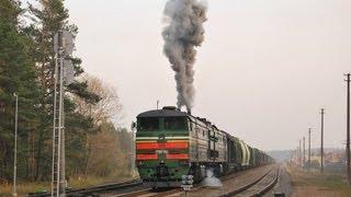 Запуск дизеля тепловоза 2ТЭ10М-3548 и отправления / 2TE10M-3548, engine start up and departure(Belarusian railways (BCh) diesel locomotive 2TE10M-3548 (TCH-16 Vitebsk depot) starts engine and departs from Jasiunai station, Lithuania Запуск дизеля ..., 2009-10-24T13:56:26.000Z)