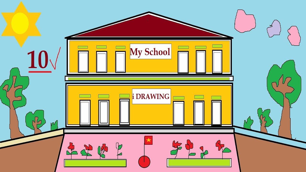 Vẽ Ngôi Trường | Draw MySchool Coloring | Drawing for School