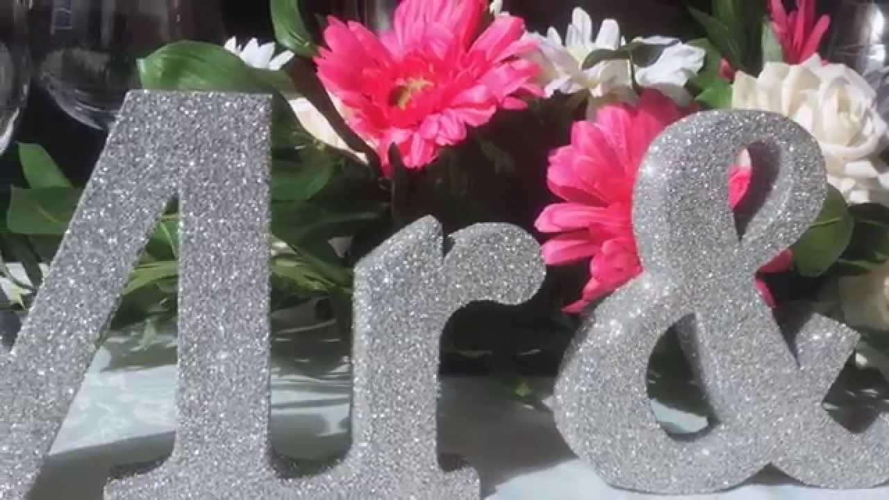 handmade mr mrs silver glitter wedding letters