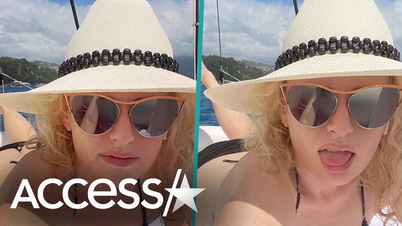 Rebel Wilson Flaunts Curves In Tiny Black Bikini On A Boat