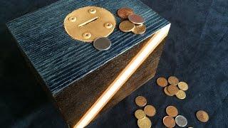 MARCENARIA CRIATIVA - Como fazer cofre caseiro de madeira reciclada com marchetaria - cofrinho