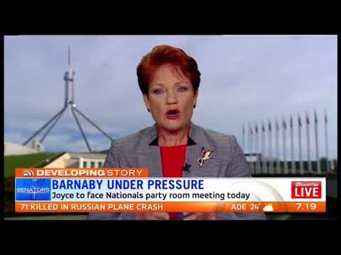 Pauline Hanson is asked to comment on Barnaby Joyce affair