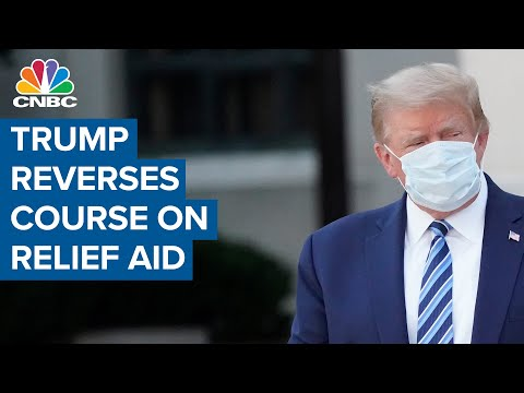 President Donald Trump reverses course on aid relief, pushes for piecemeal package