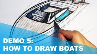 Demo 5: Speed Boat: sketching arcs in perspective.