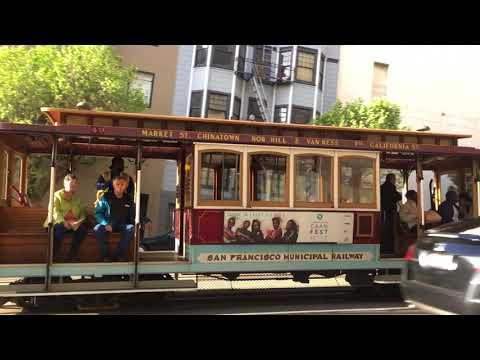 California Street Cable Car 49 @ California St & Leavenworth St San Francisco (Slow Motion)