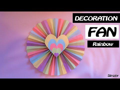 SUPER EASY RAINBOW DECORATION FAN DIY | Multicolor Paper Decor